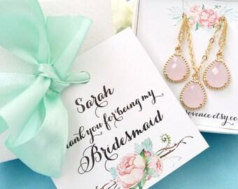 Blush Bridesmaids Jewelry set, Bridesmaid Earrings, Bridesmaid Necklace, Bridesmaid Gift