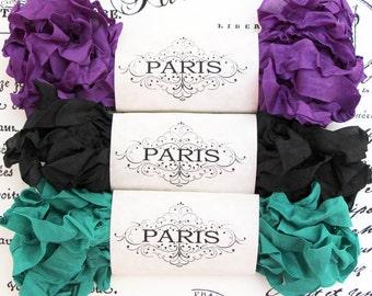 Seam Binding Ribbon, Shabby Crinkled, Purple, Black,Jade Green, Rayon Ribbon, Junk Journal,Vintage,Scrapbook,Sewing,Doll Make,Queens Chamber