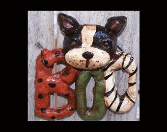 Folk Art Vintage Style Halloween BostonTerrier Boo Dog Ornament Bakers Clay