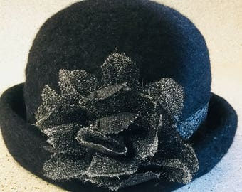 Wool Fuzzy Black Winter Hat