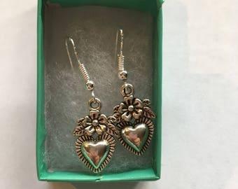 Heart & Flower hook earrings