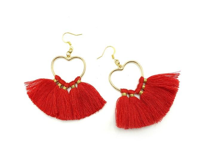 TASSEL EARRINGS: heart tassel earrings in red or pink