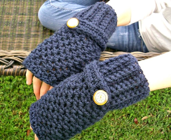Crocheted Fingerless Gloves Mittens - Navy Blue Fingerless Gloves - Blue Gloves Blue Mittens Navy Gloves Womens Accessories Fall Fashion