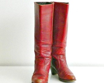 SUMMER SALE Vintage Womens Western Boots by Dexter, Tall Red Leather Boots Size 7 1/2