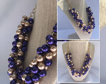 Purple Gold Pearl Necklace - Purple Gold Cluster Necklace - JMU Necklace - Purple Gold Statement Necklace - Purple Gold Bridal Jewelry