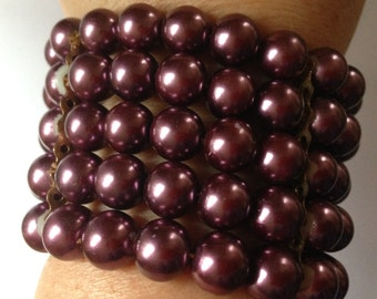 Bracelet  - plum purple pearl bead bracelet great for Christmas