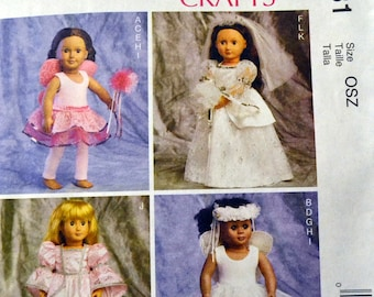 Sewing Pattern McCall's 6981 Clothes for 18 inch Doll American Girl  Complete Uncut Bride Fairy Ballerina Princess