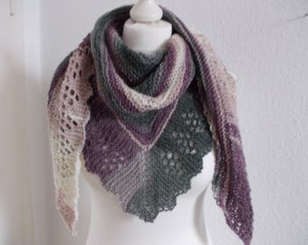 Cozy triangle scarf with angora-light pink/lilac/Grey
