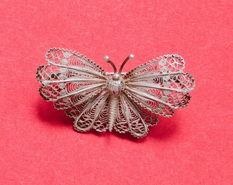 Continental Silver Filigree Butterfly Brooch - French Silvermarks - French Vintage - Butterfly Pin