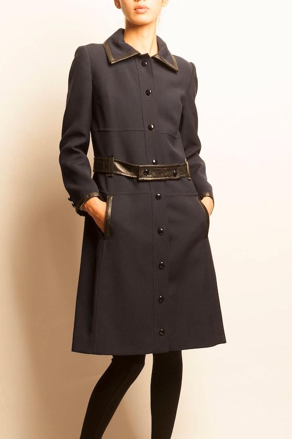 Courrèges 1970's navy leather belt 3/4 coat