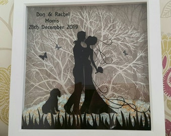 "12"" Personalised Shadow Box Picture Frame Wedding Anniversary Gift"