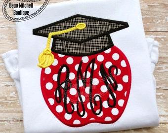 Apple Graduation design - applique embroidery