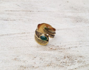 Light As A Feather Adjustable Ring in Green Quartz