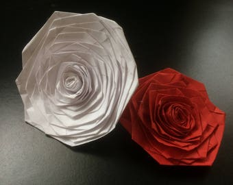 Individual origami rose,lily and kusudama flower heads