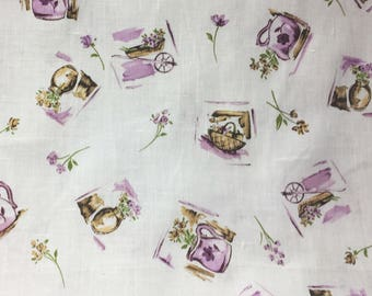 Linen Fabric - Vintage Printed Linen Yardage - Lavendar and Green Retro Style Fabric - Purple on White Printed Linen - 1 yard