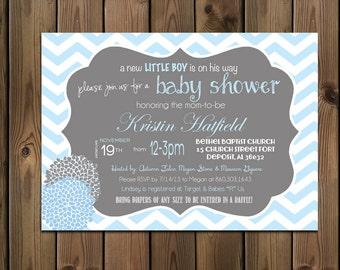 Baby Boy Shower Invitation, Chevron Invitation Blue and Grey, Digital File,  PRINTABLE _1185