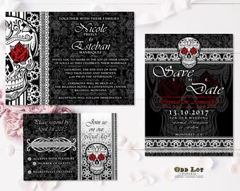 Sugar Skull Wedding Invitation Set Gothic Wedding Day of the Dead Printable Wedding Invites Till Death Do Us Part Halloween Wedding Roses