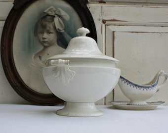 French/ Antique/ White Ironstone / Ironstone / Soup Tureen / Ironstone Tureen / Antique Tureen / French Tureen / vintage Ironstone