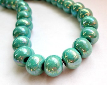 Round greek ceramic beads, enameled beads, turquoise, 12mm - 4 pieces