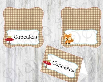 Fox Baby Shower Food Tents/Baby Shower Party/Fox Party/Boy Party/Girl Party