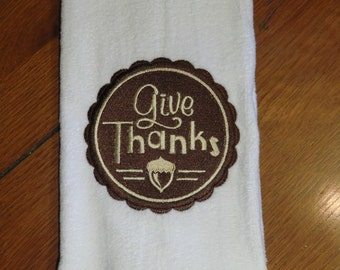 White Embroidered Finger Tip Towel  - Thanksgiving - Give Thanks