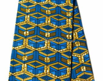 Ankara fabric 6 yards/ African fabric wholesale/ Supreme Wax Holland/ African Fabric/ Ankara print fabric/ Ankara fabric/ blocks blue WP1114