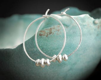 Silver Hammered Hoop Earrings, Hammered Silver Hoops, Sterling Silver Hoop Earrings Hoops Silver,Hammered Silver Earrings, Sterling Hoops