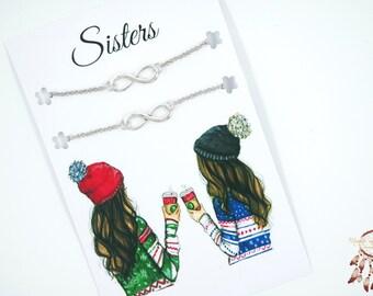 Sisters bracelets set | bracelet set, bracelet gift set, minimalist bracelet, sisters, bff, quote card, friendship bracelets, gift, friends