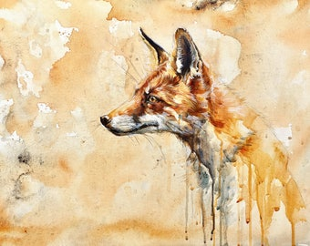 Watercolor Red Fox Giclee Print