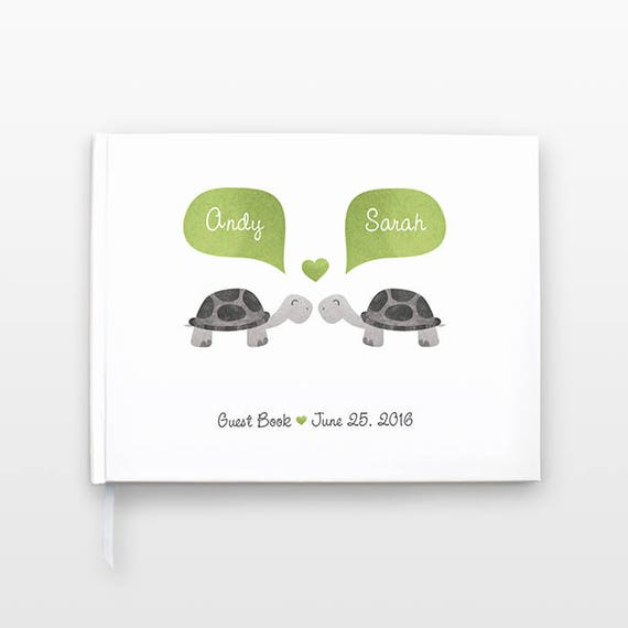 Turtle Wedding Guestbook, Bridal Shower Guest Book, Animal Wedding Guest Book, Unique Engagement Gift, Personalized Journal, Couple Notebook
