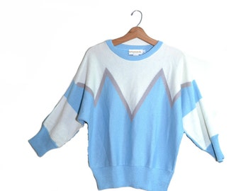 Plus Size Sweater Blue Sweater Chevron Sweater Boho Sweater Blue White Sweater Hippy Sweater Plus Size 16