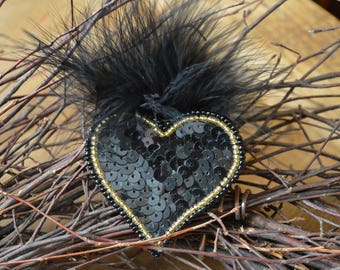 Black Heart Hair Clip, Black Hair Clip, Vintage 1980's Hair Clip, Sequin Hair Accessory, Black Sequin Heart, Vintage Feather Hair Clip