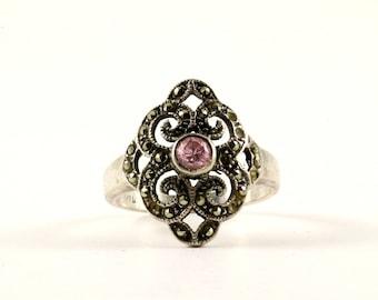 Vintage Scroll Design Marcasite Ring 925 Sterling Silver RG 3514