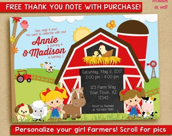 Farm Birthday Invitation, barnyard invitation, sisters, two girls, friends, cousins