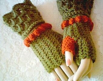 0015 Autumn Spice Glove Pattern,Accessory Glove Pattern,Winter Fashion Pattern,Crochet Fingerless Glove Pattern by CarussDesignZ