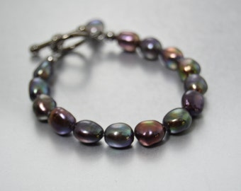 Black Pearl Bracelet Baroque Pearl Toggle Bracelet Gifts for Her Present for Mom Gift for My Wife