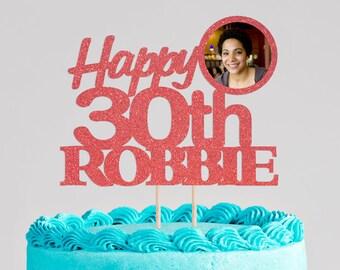 Gold Glitter Birthday Cake Topper, Name Birthday Cake Topper, Personalized Glitter Birthday Cake Topper, Happy Birthday Cake Topper, Any Age