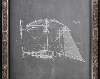 Framed Steampunk Picture Frame. Aerial Vessel 1893 Patent Reprint. Gear Head Silver/Black Frame. 11 7/8 x 15 1/8