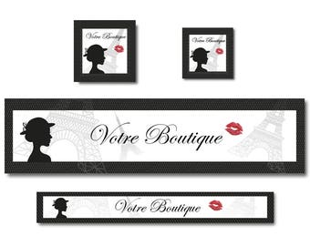 Banners retro black and white eiffel tower amid to shop Etsy banner custom Etsy banner design