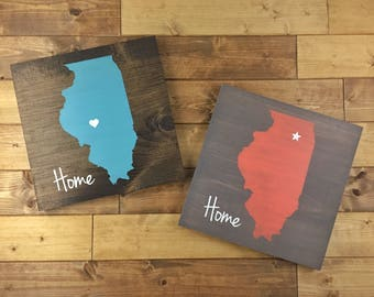Pick Colors, Illinois Wood Sign, Illinois Home Sign, Illinois Sign, Illinois Guest Book, Illinois decor, Chicago art, Illinois plaque