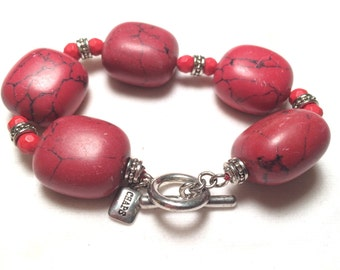 Designer Chaps red stone bracelet