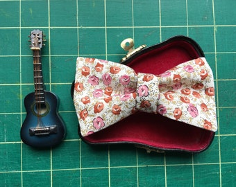 Red and coral floral kids bow tie