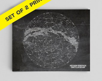 Star Map Constellations Map Set Astronomy Poster Stars Print Constellation Poster Science Art Office Decor Gifts for Teachers Classroom Art