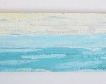 Abstract ocean oil painting, blue ocean painting, lemon yellow skies, florida beach art