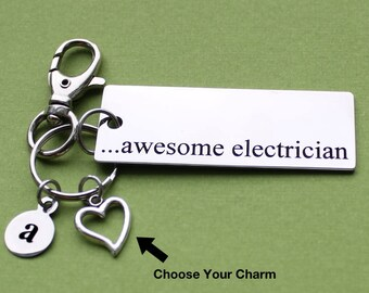 Personalized Electrician Key Chain Awesome Electrician Stainless Steel Customized with Your Charm & Initial - K718