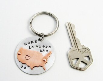 Map Keychain with U.S. or United States (Home Is Where The Heart Is) - Travel or Homeowner Gift