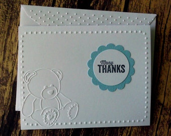 Baby Thank You Cards, Set of 10, Baby Boy Thank You Cards, Blue Baby Bear Cards, Embossed Thank You Cards, Boy Baby Shower Thank You Cards