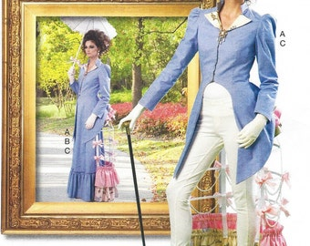 Womens Steampunk Jacket, Skirt and Tournure OOP McCalls Sewing Pattern M7140 Size 14 16 18 20 22 Bust 36 to 44 UnCut Cosplay Costume
