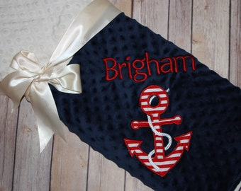 Anchor - Personalized Minky Baby Blanket -Navy and White  Minky - Embroidered Anchor