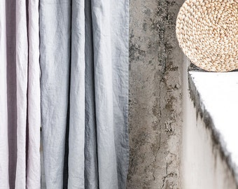 Light elephant grey. Washed linen curtains/ linen drapes in light elephant grey
